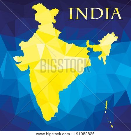 Original abstract map of India in gold color on blue background. Vector illustration.