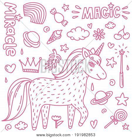 Thin line vector illustration with cute handdrawn unicorn and magic stuff. Miracle and magic creature. Vector illustration.