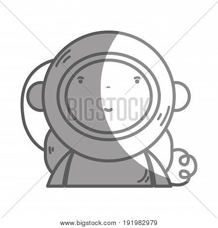silhouette nice astronaut with equipment to kawaii avatar vector illustration