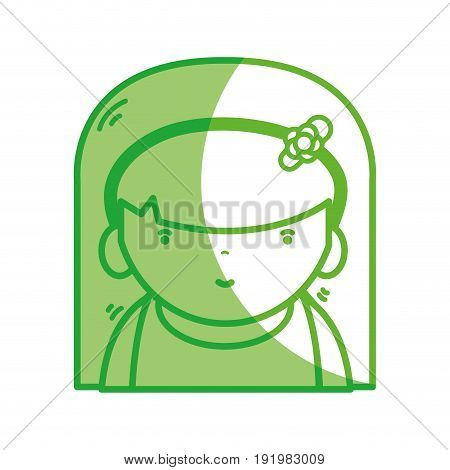 silhouette beauty girl with hairstyle to kawaii avatar vector illustration