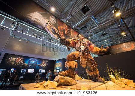 Cologne, Germany, August 13, 2014: Blizzard pavilion and world of warcraft on gamescon. Gamescom is a trade fair for video games held annually at the Koelnmesse in Cologne.
