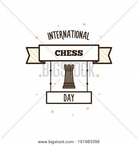 International Chess Day. Vector illustration. Chess piece.