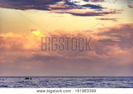 Tropical sunrise at Ipanema beach in Rio de Janeiro