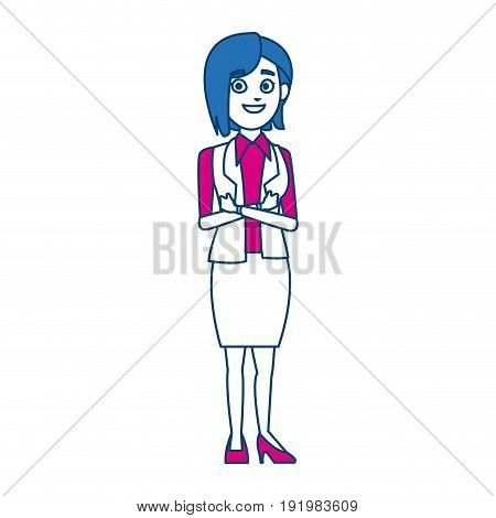 business woman manager standing gesture vector illustration