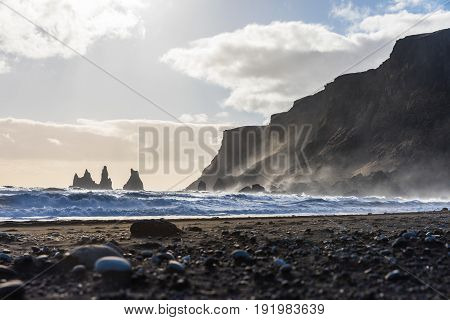 Iceland, Vik Black Beach With Waves And Rocks