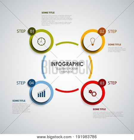 Info graphic with colored rounds design elements template vector eps 10