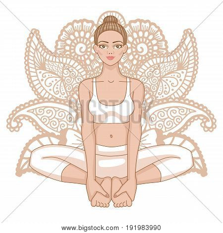Women silhouette. Bound Angle yoga pose. Baddha Konasana Vector illustration