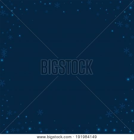 Sparse Glowing Snow. Corner Frame On Deep Blue Background. Vector Illustration.