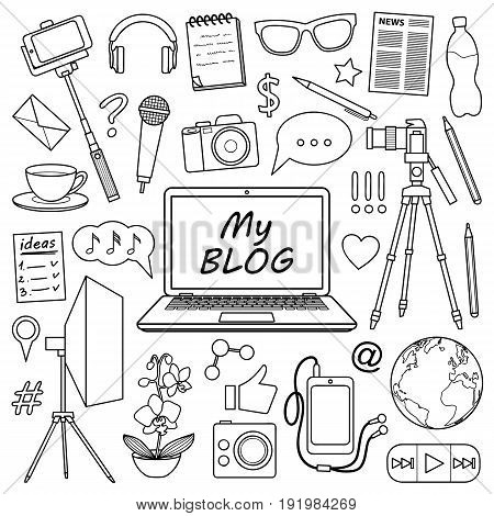 My Blog object set. Vector pattern with blogging elements for covers, web banners, coloring books.