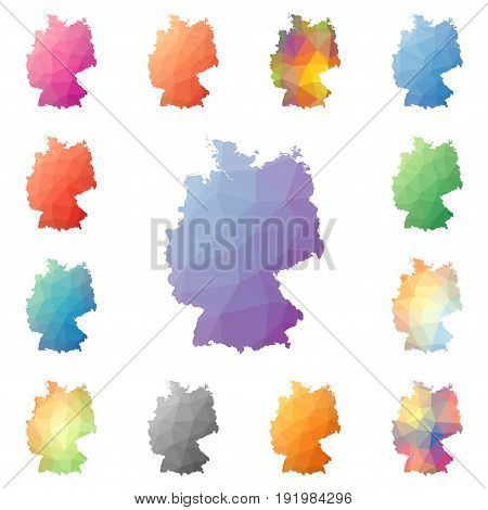Germany Geometric Polygonal, Mosaic Style Maps Collection. Bright Abstract Tessellation, Low Poly St