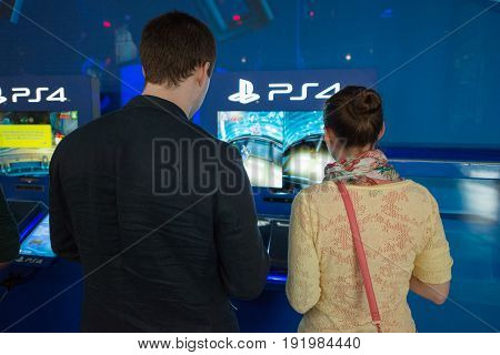 Cologne, Germany, August 13, 2014: Playstation pavilion on gamescon. Gamescom is a trade fair for video games held annually at the Koelnmesse in Cologne.