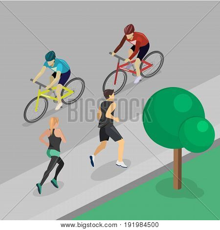 Park Girl And Guy Are Jogging, Cyclist Rides Along Road