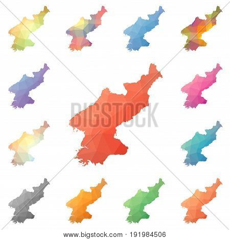 North Korea Geometric Polygonal, Mosaic Style Maps Collection. Bright Abstract Tessellation, Low Pol