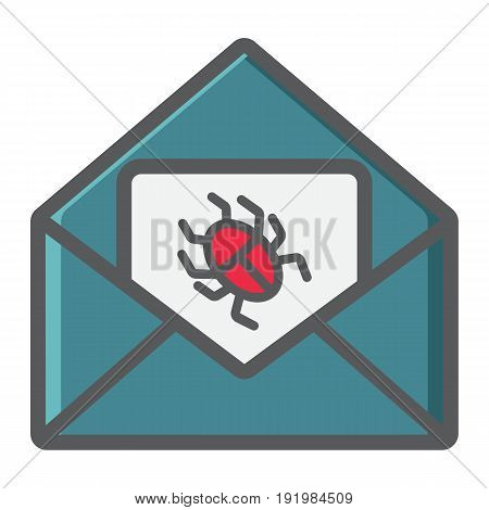 Virus in email colorful line icon, spam and security, vector graphics, a filled pattern on a white background, eps 10.