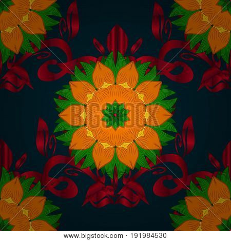Watercolor hand painting of abstract flowers seamless pattern vector background.
