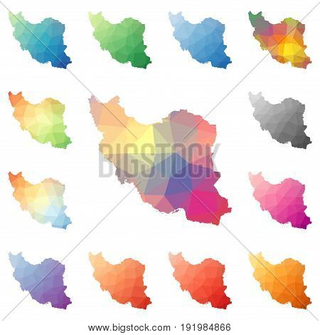 Iran Geometric Polygonal, Mosaic Style Maps Collection. Bright Abstract Tessellation, Low Poly Style