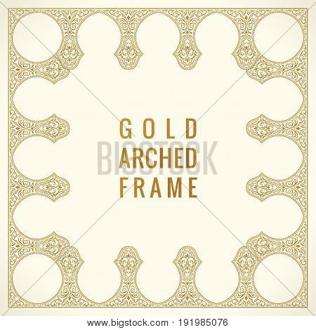 Eastern vintage gold arch card. Arabic ornament floral frame. Template design elements in oriental style for design, invitations, decor for brochure, flyer, poster