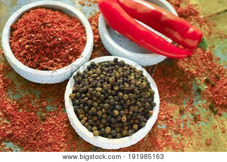 Red Hot Chili Cayenne And Black Pepper Fresh And Dried Powdered Spice, Ready To Use.