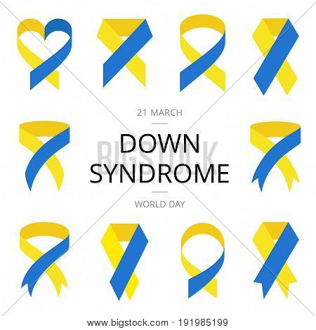 Yellow and blue ribbon in flat style. World Down Syndrome Day.