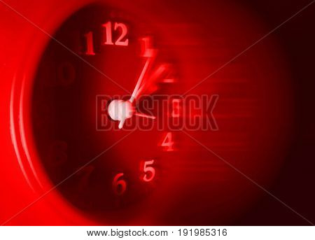 Red Clock With Speedy Blurred Effect