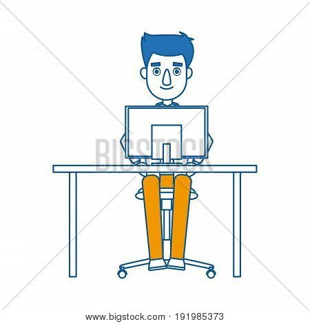business man entrepreneur working on a laptop computer office desk vector illustration