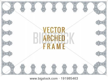 Eastern vintage arch card. Arabic ornament floral frame. Template design elements in oriental style for design, invitations, decor for brochure, flyer, poster