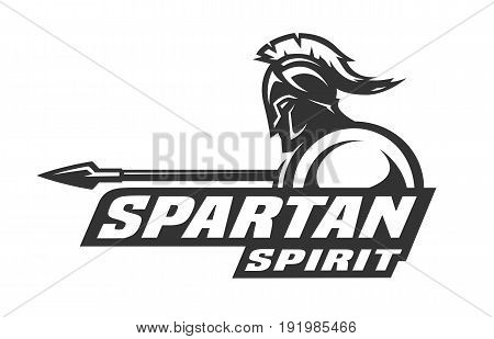 Spartan spirit monochrome logo, symbol. Vector illustration