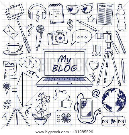 My Blog object set with doodle elements. Vector pattern with blogging symbols for covers, web banners, coloring books.