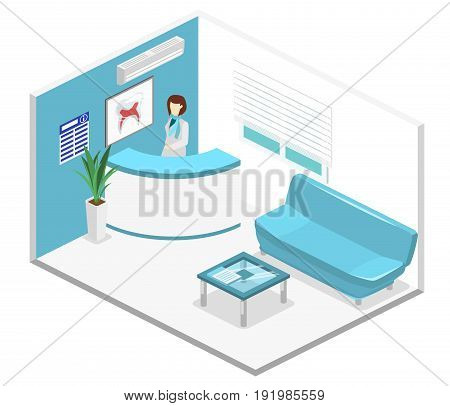 Isometric Flat 3D Isolated Interior Dentistry Waiting Room. Dental Clinic