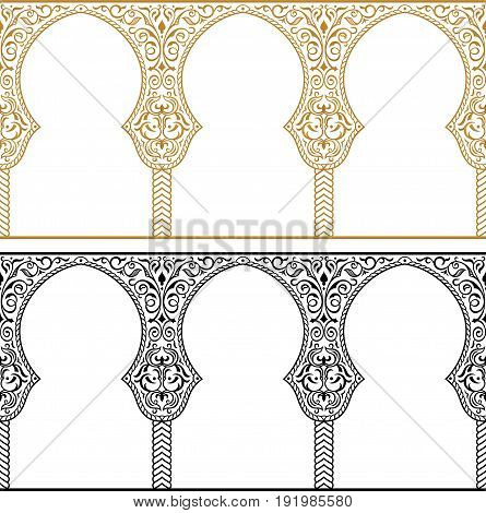 Eid al Adha greeting backgrounds set. Eactern gold and black frames. Feast of the Sacrifice vector ornament. Arch Muslim mosque design silhouette