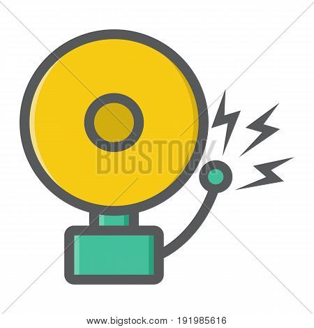 Fire alarm colorful line icon, intruder alarm and security, vector graphics, a filled pattern on a white background, eps 10.