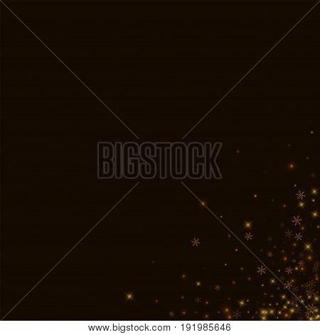 Beautiful Starry Snow. Messy Bottom Right Corner On Black Background. Vector Illustration.