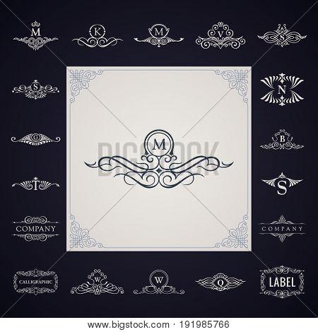 Luxury logo monogram set. Vintage royal flourishes elements. Calligraphic symbol ornament. Letter M, K, V, S, N, B, Q, W, T, G. Vector pattern emblem. Calligraphic design frame