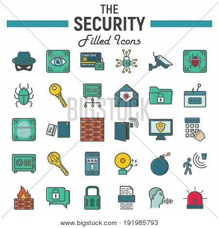 Security colorful line icon set, cyber protection symbols collection, safety vector sketches, logo illustrations, filled pictograms package isolated on white background, eps 10.