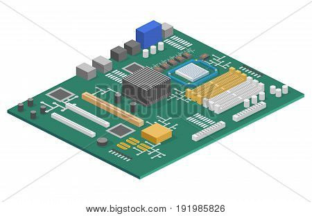 Isometric Flat 3D Isolated Concept Vector Computer Motherboard Information System