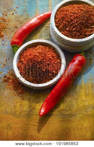 Red Hot Chili Cayenne Pepper Fresh And Dried Powdered Spice, Ready To Use.