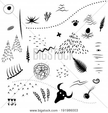Vector set of black silhouettes of hand drawn doodle natural patterns.