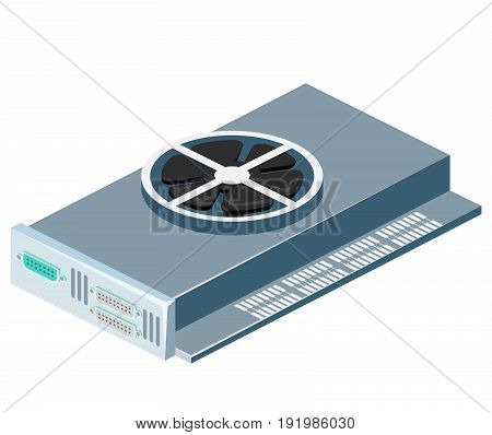 Isometric Flat 3D Isolated Vector Video Card Computer Technology Equipment