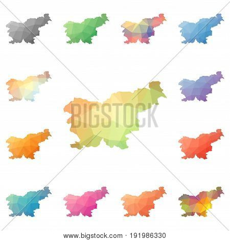 Slovenia Geometric Polygonal, Mosaic Style Maps Collection. Bright Abstract Tessellation, Low Poly S