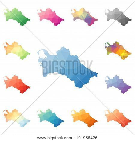Turkmenistan Geometric Polygonal, Mosaic Style Maps Collection. Bright Abstract Tessellation, Low Po