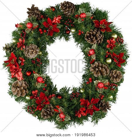 Christmas decorative wreath green red white background