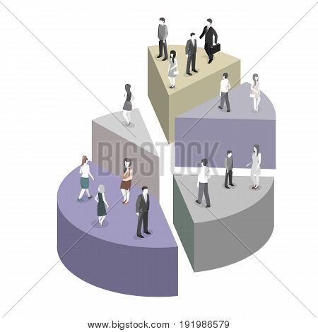 Isometric flat 3D isolated concept vector Business People Group Stand On Pie Diagram Success Teamwork