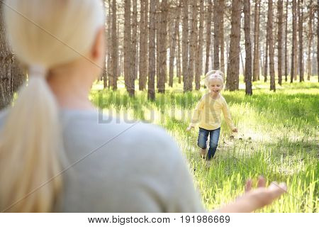 Happy grandmother playing with little girl in forest on sunny day