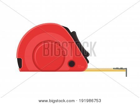 Self-retracting tape measure. Red ruler. Vector flat icon