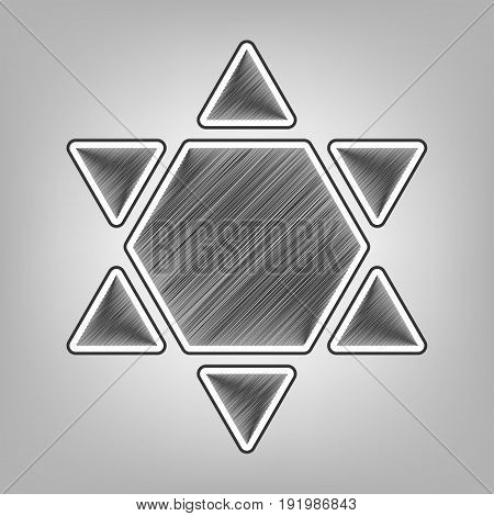 Shield Magen David Star Inverse. Symbol of Israel inverted. Vector. Pencil sketch imitation. Dark gray scribble icon with dark gray outer contour at gray background.