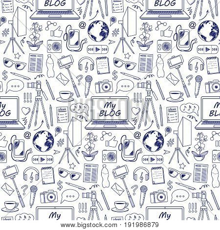My Blog object seamless pattern with doodle elements. Vector wallpaper with blogging symbols for covers, web banners, coloring books.