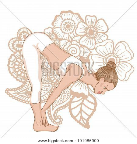 Women silhouette. Standing half forward bend yoga pose. Ardha uttanasana Vector illustration