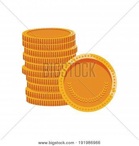 pile of golden coins hidden treasure design vector illustration