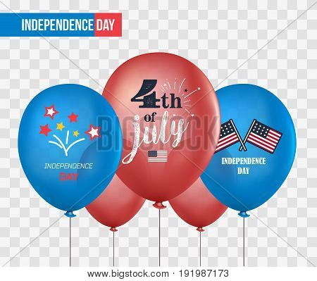 Holiday balloons isolated on transparent background. 4th of July. National celebration. Independence Day. Vector set of holiday balloons. Realistic mockup