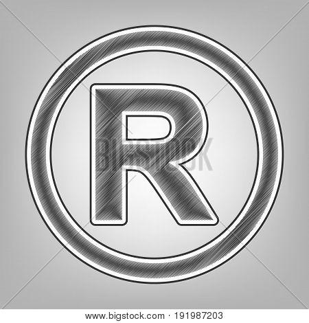 Registered Trademark sign. Vector. Pencil sketch imitation. Dark gray scribble icon with dark gray outer contour at gray background.